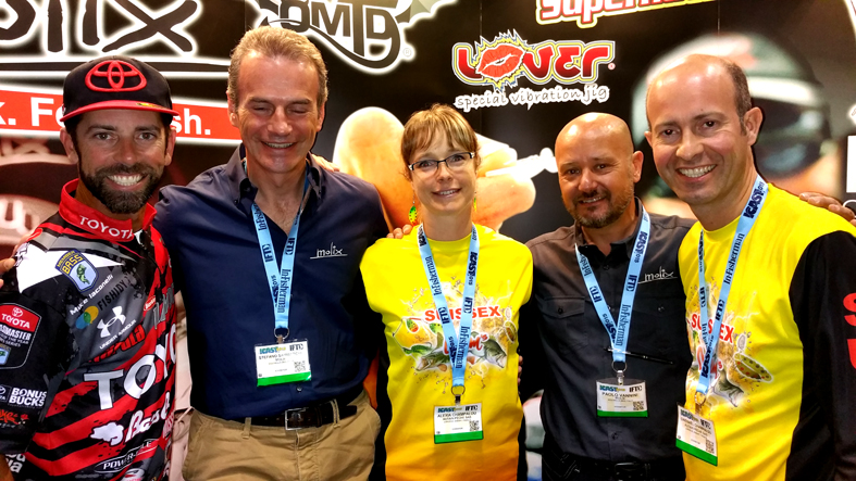 Also our distributors in France Mrs. and Mr. Champalou from Autaine Peche are present at the ICAST with his brand Suissex